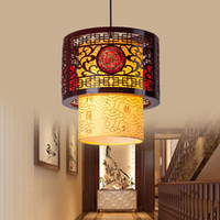10 ~ 15sq.m antique white dining - Chinese led hollow wooden bedroom tea restaurant corridor balcony antique chandelier chandelier lamp indoor wooden imitation sheepskin