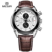 Wholesale MEGIR Chronograph Function Men s Current Watches Genuine Leather Luxury Men Top Brand Military Watch Relogio Masculino