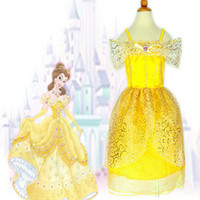 Knee-Length aurora clothing - Cindercella Belle Aurora Snow White Princess Dresses Children Girls Cosplay Costume Lace Party Dress Easter Halloween XMAS Clothing PX A23