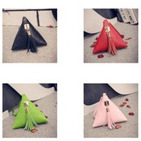 Wholesale European Trendy Leather Clutch Bag Casual Small Purse Fringe Tassel Ladies Wallet Triangle Leather Clutch Bag