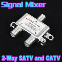 Wholesale 5pcs Ways Satellite Splitter ANT SAT VHF UHF Signal mixer digital satellite TV CATV DVB Switch Combiners diplexers Cable