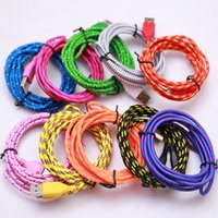 Wholesale 1M ft M ft M ft Braided nylon Micro USB Cable Sync fabric Woven usb cables Charger Cords For Samsung Galaxy S6 SONY