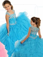 beauty free sheers - Rachel Allen New Collection Flower Girl Dresses Sheer Jewel Beaded Ruched Ruffles Beauty Pageants Gowns Formal Occasion Wear