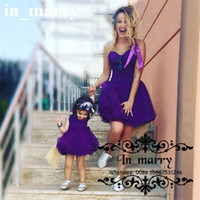 Wholesale Arabic Purple Mother and Daughter Dresses Puffy A Line Crew Bow Sash Short Organza Skirts Plus Size Flower Girls Dresses Pageant Gown