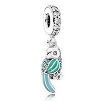 Auténtico 925 Sterling Silver Bead encanto esmalte tropical loro con cuentas de cristal colgante Pandora Pulsera pulsera brazalete DIY Joyería HK3659