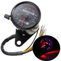 Wholesale 65mm quot DC V Dual LED Backlight Night Readable Speedometer Gauge Panel Motorcycle Universal Odometer KM Instrument MOT_50J