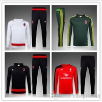 Wholesale 2015 New Top quality AC Milan soccer tracksuit chandal AC Milan football Tracksuit training suit skinny pants Sportsw