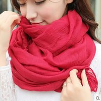 Wholesale Women s Long Paragraph Cotton And Cotton Scarf Shawl Dual use Female Art Pure Color Linen Scarf Spring And Autumn Winter Collar