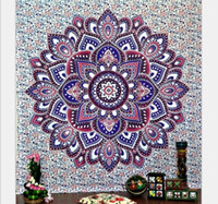 Wholesale Bohemia Indian Mandala Beach Throw Printed Tapestry Hippy Tablecloth Beach Towel Yoga Polyester square Mat screen Shawl cappa QZZW039