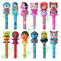 Wholesale Cartoon Inflatable Balloon cm Stick Cartoon Head Balloon Cheering Stick Balloons Party Supply Air Refueling Bar For Kids