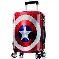 Wholesale Unisex Rolling Luggage Fashion ABS Graffiti Cartoon Captain America Travel Suitcase Password Valise Design EC