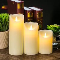 3pcs velas grandes velas bailando LED parpadeo sin llama con control remoto Timer (marfil)