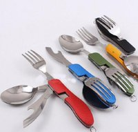 Wholesale New Outdoor camping portable Fork knife tableware tools Stainless Steel in1 Multi Function Folding Spoon Fork knife Travel sets