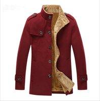 Wholesale Men Winter Jacket Long Wind Coat Warm Fashion Wool Windbreaker Thicken Colors Hot Sale