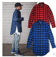 Wholesale 2016hip hop clothi Cool hba men streetwear t shirts side zipper plaid Pockets lines Red flannel brand Tyga Shirt tartan mma clothes