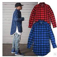 Wholesale Cool Long Shorts - 2016hip hop clothi Cool hba men streetwear t shirts ,side zipper plaid Pockets lines Red flannel brand Tyga Shirt tartan mma clothes