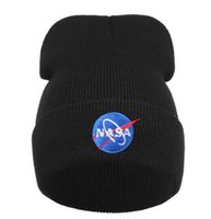 Wholesale 2017 Winter Hat Nasa Men Women Solid Brand Hot Sale Warm Casual Knitted Hip Hop Caps Hat Female Skullies Beanies