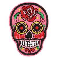 al por mayor flores de bricolaje para la ropa-20 PC remiendo DIY floreció el cráneo bordó las insignias de la tela de los remiendos Hierro-En la costura para los bolsos remienda la ropa Ornamento decorativo del sombrero