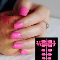 Wholesale Shiny Deep Hot Pink Fashion Candy Women False Nails Sparkly Nail Art Full Wrap Tips Salon Product No