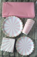 baby shower paper plates napkins - Sets Tableware Table Cloth Pink Gold Stripe Paper Cups Plates Napkins First Birthday Baby Shower Carnival Moments