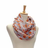 Wholesale Women Voile Scarf Ladies Fox Pattern Print Wrap Shawl Female Ring Silk Infinity Scarves Loop OR