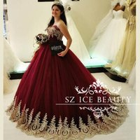 Wholesale Cheap Burgundy Sweet Quinceanera Dresses Puffy Ball Gown Gold Applique Beaded Vestidos De Anos Long Tulle Party Girls
