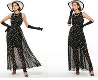 Polka Dots de las mujeres vestido maxi Bohemian A-Line sin mangas de largo verano casual Beach Chiffon vestidos de fiesta