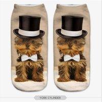 al por mayor calcetín jirafa-Venta al por mayor-Low Cut tobillo 3D Impreso Calcetines Giraffe Gato Otoño Nuevo Moda Mujer Calcetines Algodón Casual para las mujeres