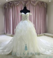 Wholesale 2016 Women Elegant Strapless Flowers Bridal Gowns Backless Lace Beautiful Ball Gown Wedding Dresses White Big Train