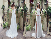Wholesale Actual Photos New Sexy Sweetheart A line Beaded Chiffon Wedding Dresses High Side Slit Wedding Sweep Train Dress