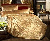 Wholesale Freeship bed sheet set queen king gold Satin pc duvet cover set bedding set bed cover sheet duvet set quilt cover