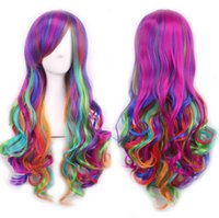 animations textures - Fashion women cm long hair synthetic hair animation cosplay wigs rainbow color Harajuku color color female long curly hair