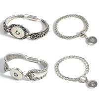 Wholesale Snap Charm Bracelets Fit Snap Button Carve Flower Magnetic Tube Bar Clasp Bracelet Antique Silver Snap Jewelry
