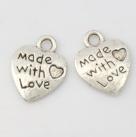 antique mic - MIC x12 mm Antique Silver Made With Love Heart Charms Pendants Fashion Jewelry DIY L319