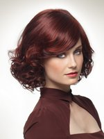 Wholesale New arrivals European classical elegant woman s short natural wave burgundy synthetic hair wigs pc carton drop shipping