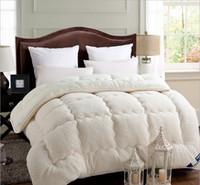 Wholesale Fleece Comforter blanket winter twin full Queen King size Thick Duvet Blankets Quilts white camel