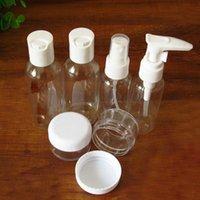 Wholesale Mini Plastic Transparent Small Empty Spray Bottle Lotion Case Container Traveling Makeup Skin Care Refillable Bottle set