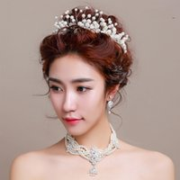Wholesale 2016 Rushed Fascinators Rhinestone crystal The New Bride Headdress of Foreign Trade Handmade Pearl Flower Crown A Girl Hair Adorn Article