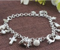 Wholesale 2016 s new arrival European Silver plating link chain Korean fashion hand chain hanging zodiac piece Bracelet drop shipping for