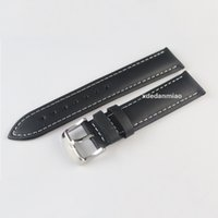 Wholesale 19mm Buckle18mm PRC200 T095417 T41 T461 High Quality Silver Buckle Black Genuine Leather White line orange line Watch Bands Strap