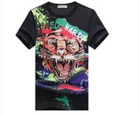 Wholesale new fashion high quality D tiger printing combine hot drilling technology short sleeve solid black homme tees
