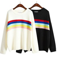 Wholesale Korean Harajuku color stripes bottoming new winter sweaters wild loose big yards spell color rainbow women casual sweater