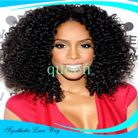 baby blue wig - kinky curly synthetic lace front wig with baby hair Heat Resistant Hair Glueless lace Wigs for black women synthetic wigs
