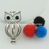 Wholesale 2pcs Vintage Silver Copper Hollow Animal Owl Perfume Diffuser Locket Pendant Kid