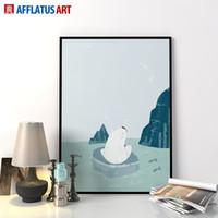 bear cartoon pictures - Modern Nordic Minimalist Cartoon Polar Bear Art Prints Poster Impressionism Wall Picture Canvas Painting Home Decor