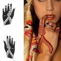 Wholesale Set Left Right Hand Mehndi Henna Tattoo Stencils Indian Henna Glitter Airbrush Tattoo Large Template Stencil Body Art Women
