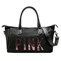beach brand handbags - Women VS Love Pink Bag Brand High Quality Paillette Handbags Large Capacity Travel Duffle Waterproof Beach Bag Shoulder Bag