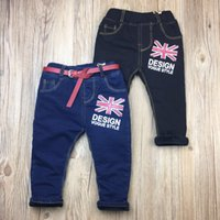 Wholesale 2016 new arrival winter boys pants children clothing boy baby cotton fashion alphabet add wool baby jeans T T