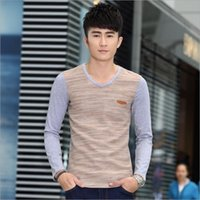 Wholesale The fall of new men s men s cotton stitching personality V Neck Long Sleeve Shirt Dress simple Korean male
