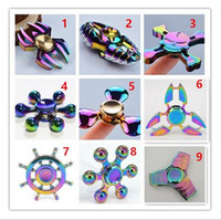 Wholesale Mixed Rainbow Colorful Fidget Spinners Metal Bearing Hand Spinner Top Anxiety Stress Focus Finger King Of Glory Naruto Ninja Genji DHL free